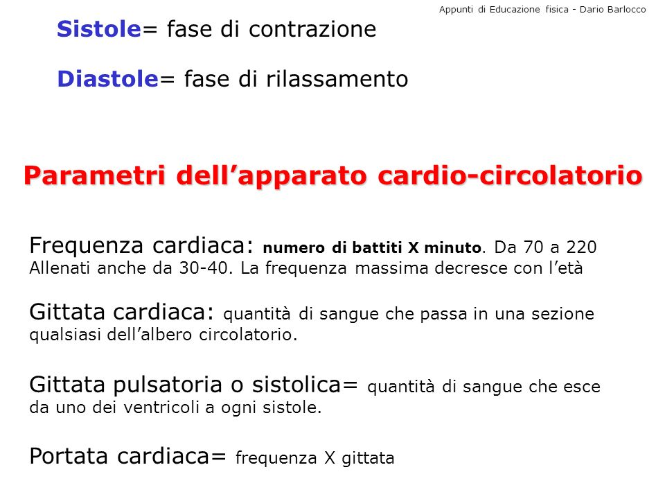 Parametri dell'apparato cardio-circolatorio