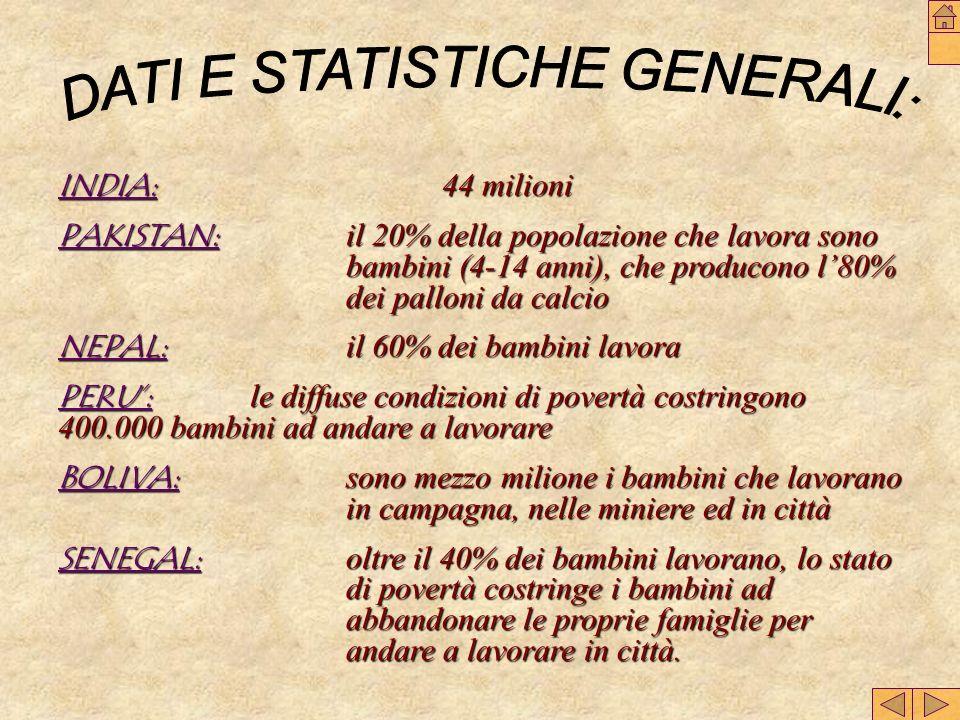 DATI E STATISTICHE GENERALI:
