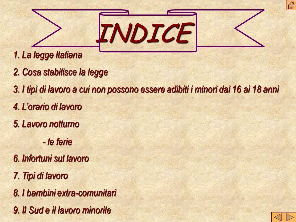 INDICE 1. La legge Italiana 2. Cosa stabilisce la legge