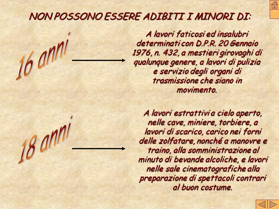 NON POSSONO ESSERE ADIBITI I MINORI DI: