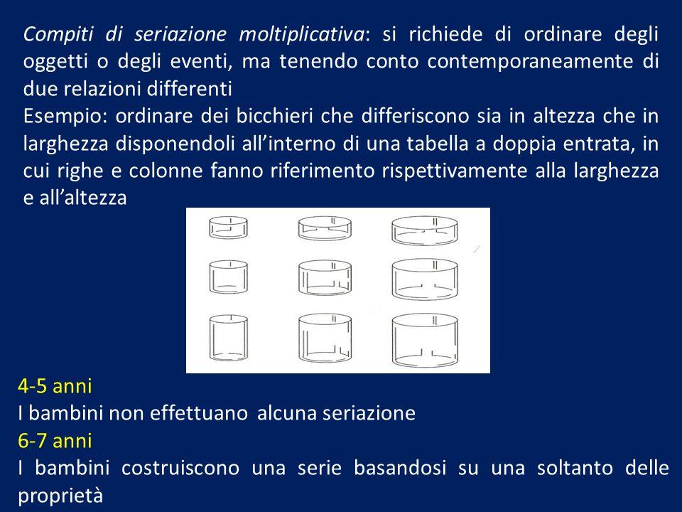 Compiti di seriazione moltiplicativa: si richiede di ordinare degli oggetti o degli eventi, ma tenendo conto contemporaneamente di due relazioni differenti