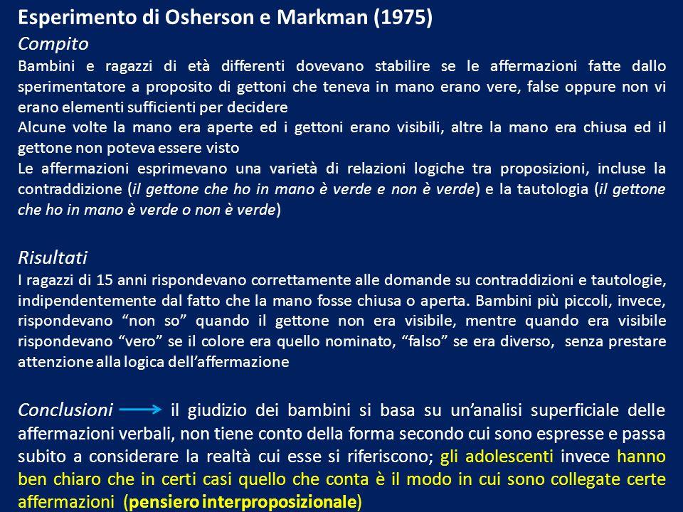 Esperimento di Osherson e Markman (1975)
