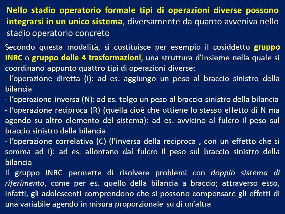 Nello stadio operatorio formale tipi di operazioni diverse possono integrarsi in un unico sistema, diversamente da quanto avveniva nello stadio operatorio concreto