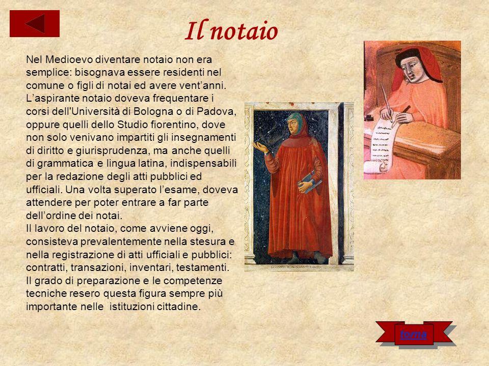Il notaio Nel Medioevo diventare notaio non era