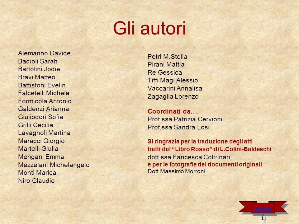 Gli autori Alemanno Davide Badioli Sarah Petri M.Stella