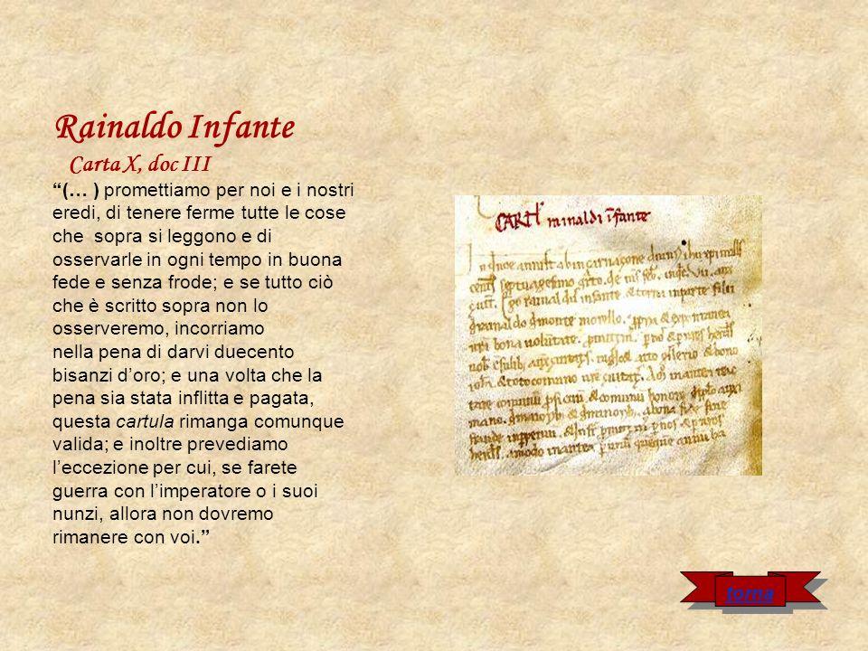 Rainaldo Infante Carta X, doc III (… ) promettiamo per noi e i nostri