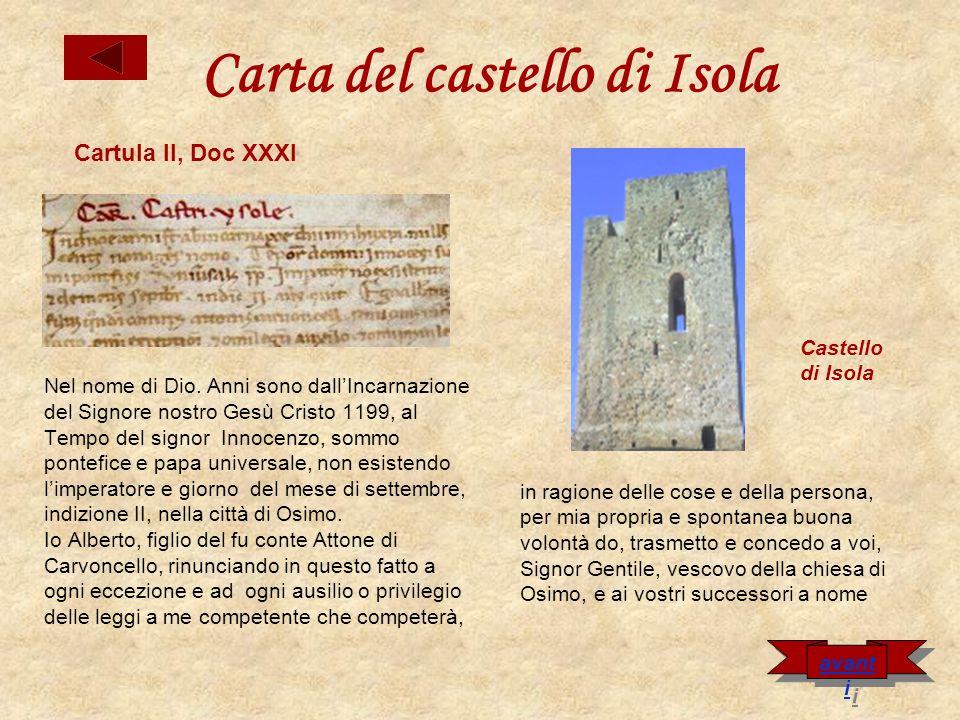 Carta del castello di Isola