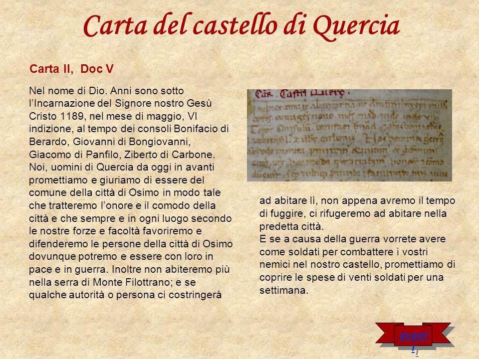 Carta del castello di Quercia