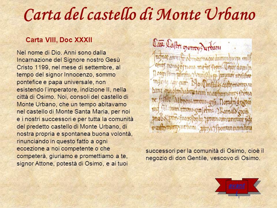 Carta del castello di Monte Urbano