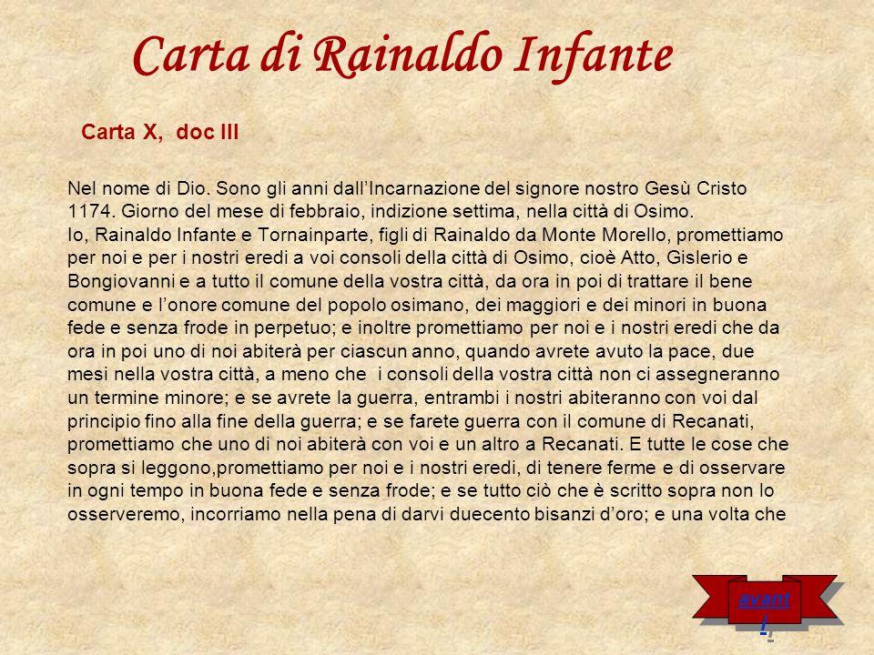 Carta di Rainaldo Infante