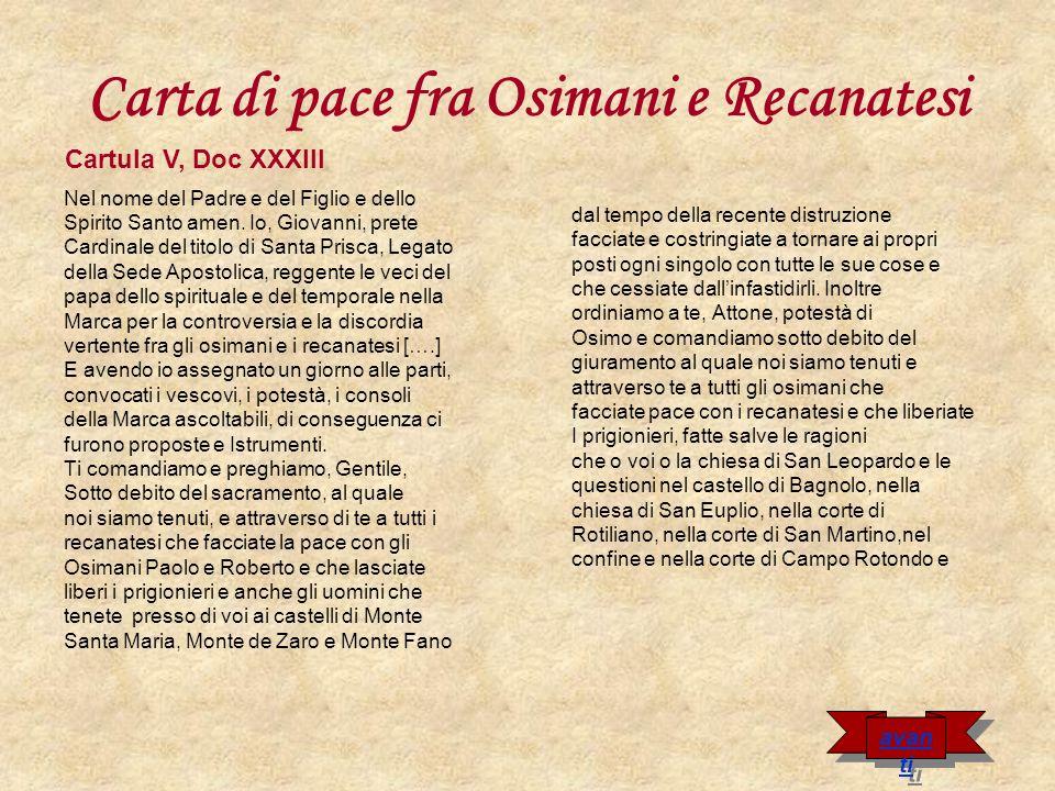Carta di pace fra Osimani e Recanatesi