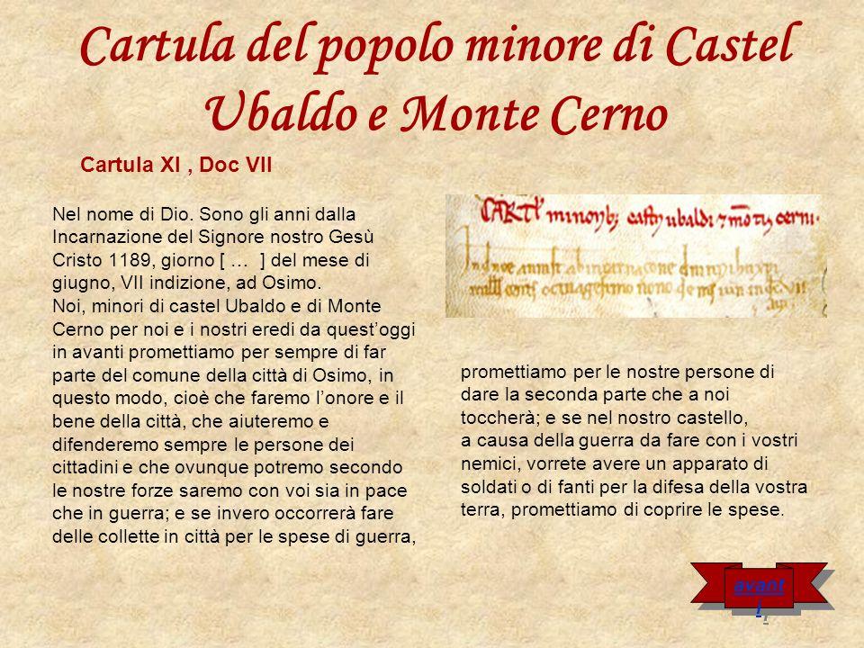 Cartula del popolo minore di Castel Ubaldo e Monte Cerno