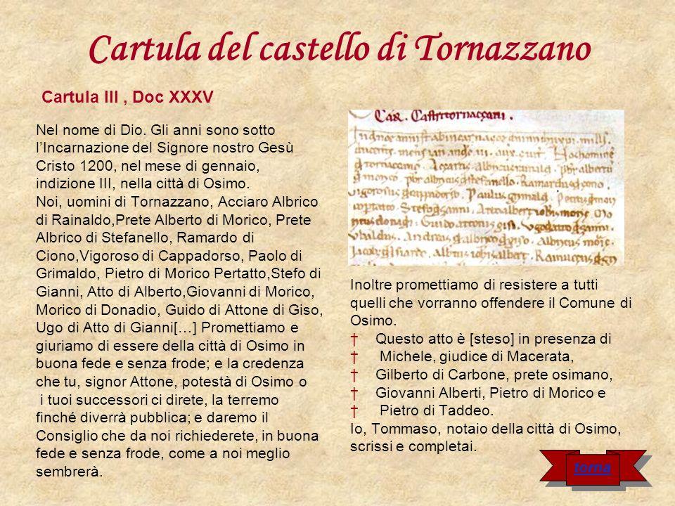 Cartula del castello di Tornazzano