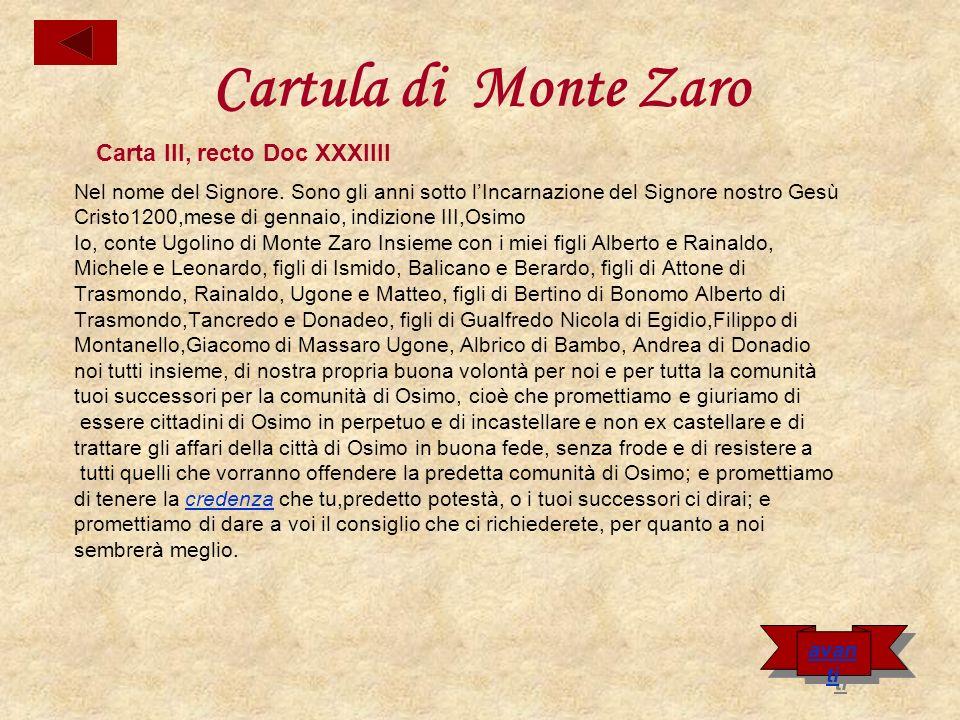 Cartula di Monte Zaro Carta III, recto Doc XXXIIII