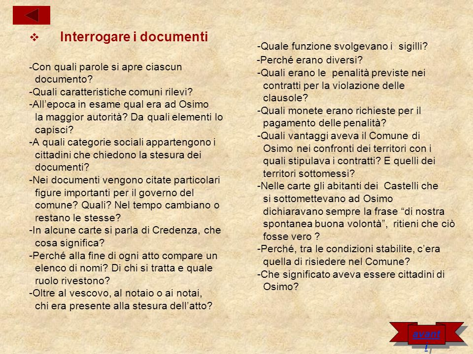 Interrogare i documenti