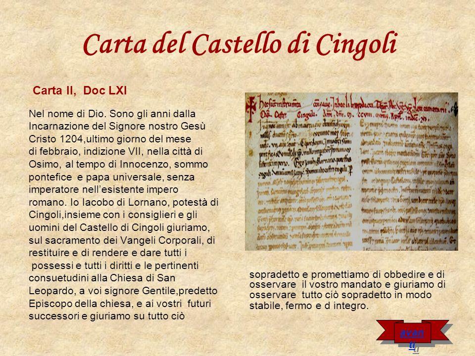 Carta del Castello di Cingoli