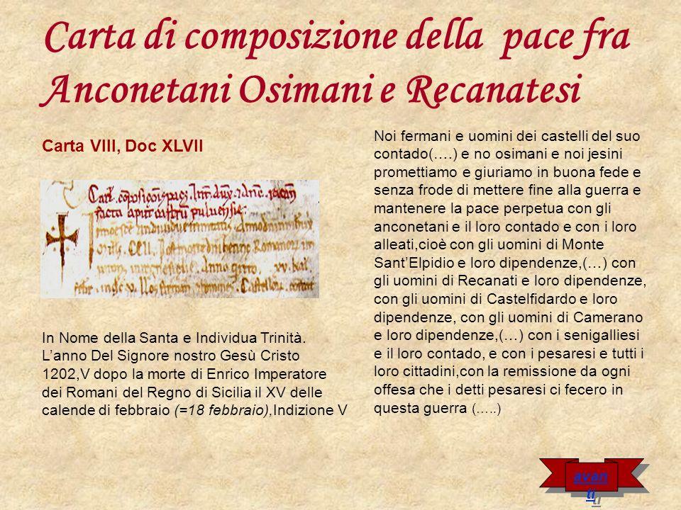 Carta di composizione della pace fra Anconetani Osimani e Recanatesi