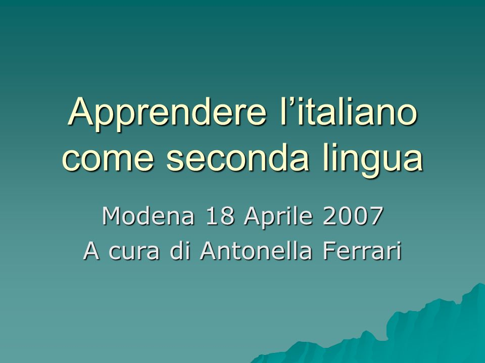 Apprendere l'italiano come seconda lingua