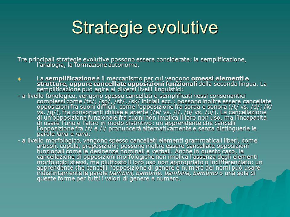 Strategie evolutive Tre principali strategie evolutive possono essere considerate: la semplificazione, l'analogia, la formazione autonoma.