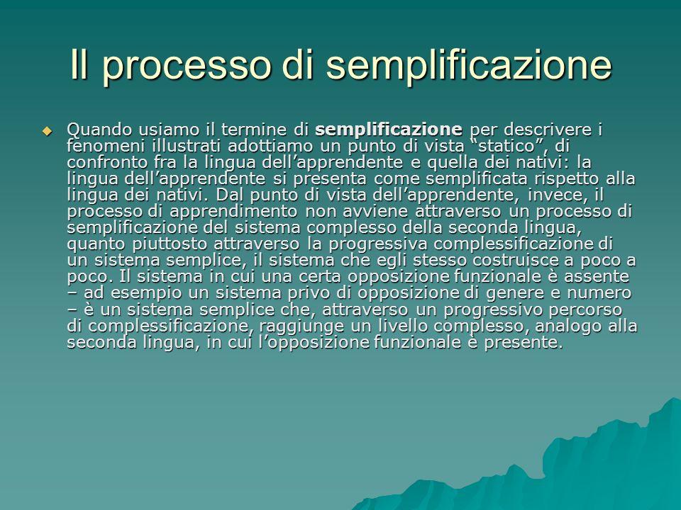 Il processo di semplificazione