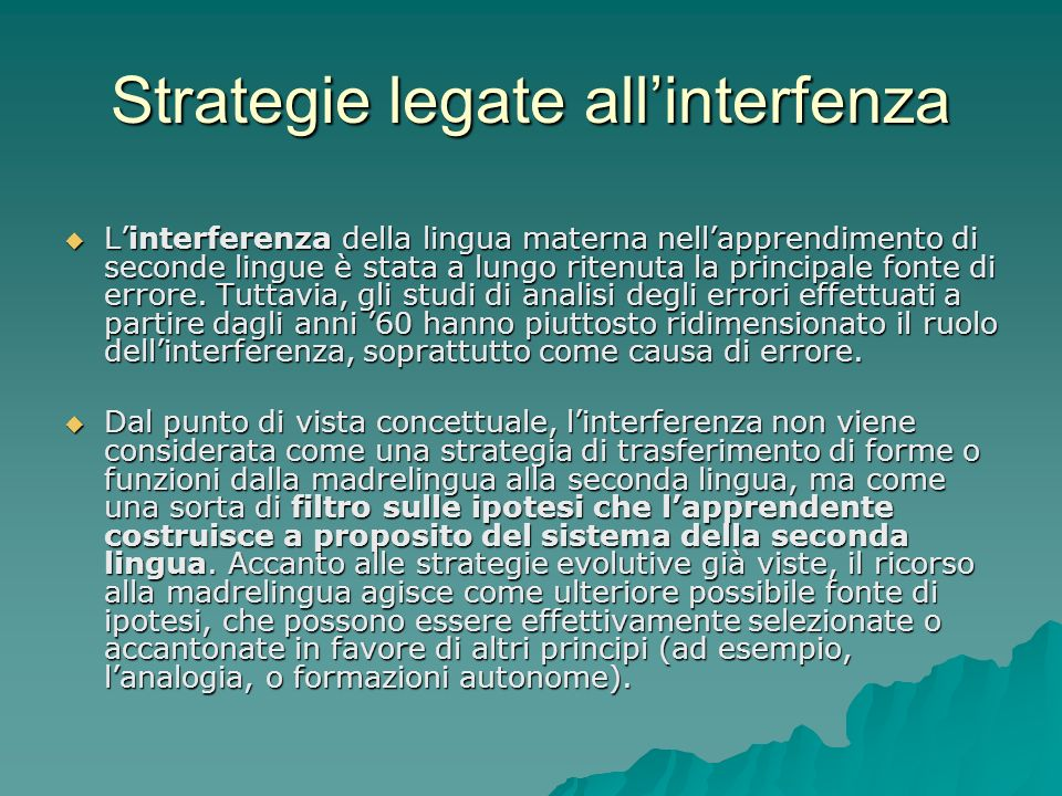 Strategie legate all'interfenza