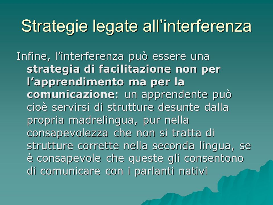 Strategie legate all'interferenza