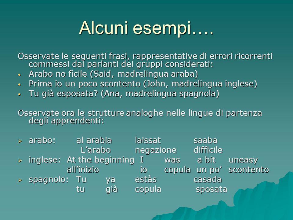 Alcuni esempi…. Osservate le seguenti frasi, rappresentative di errori ricorrenti commessi dai parlanti dei gruppi considerati: