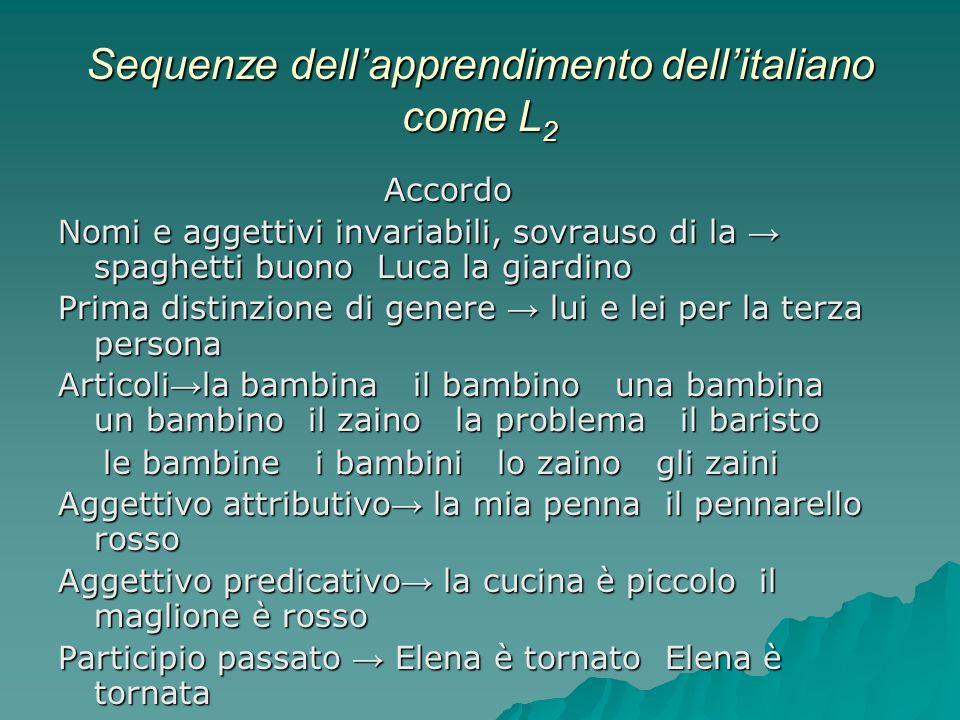 Sequenze dell'apprendimento dell'italiano come L2