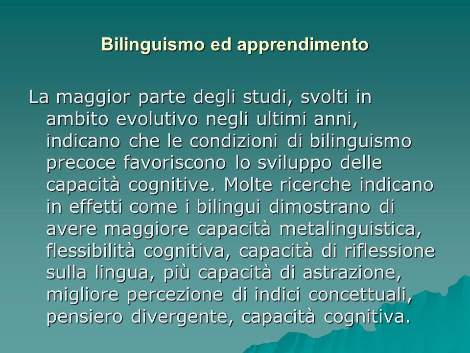 Bilinguismo ed apprendimento