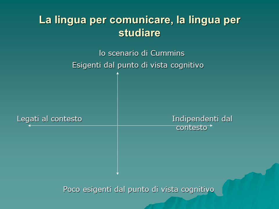 La lingua per comunicare, la lingua per studiare