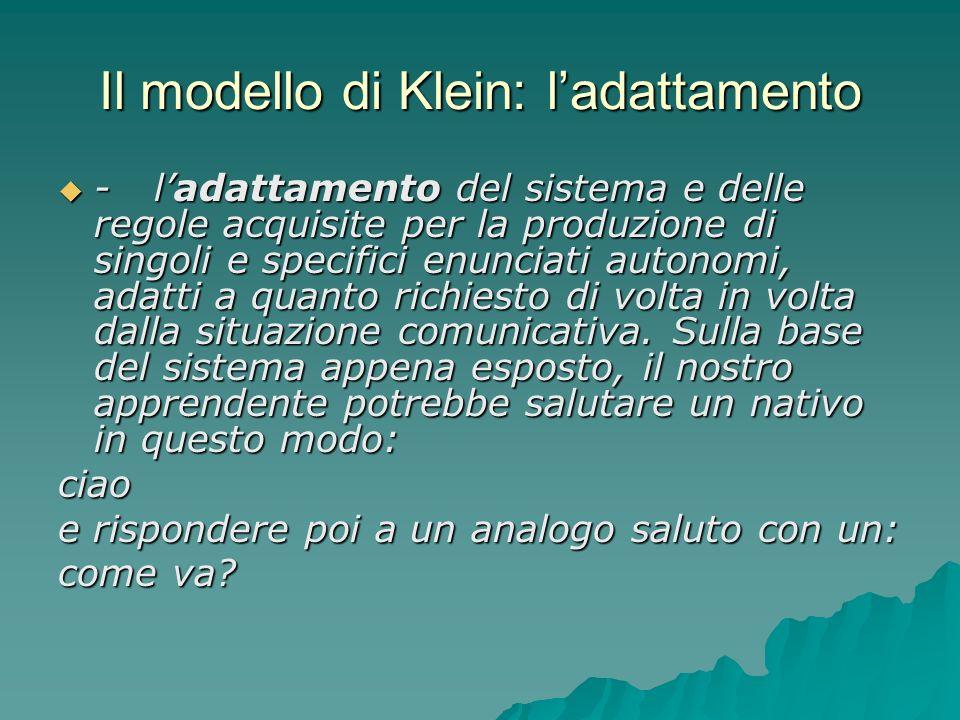 Il modello di Klein: l'adattamento