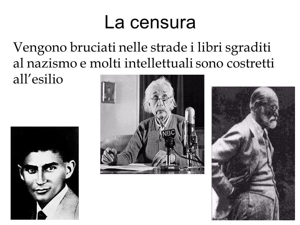 La censura Vengono bruciati nelle strade i libri sgraditi al nazismo e molti intellettuali sono costretti all'esilio.