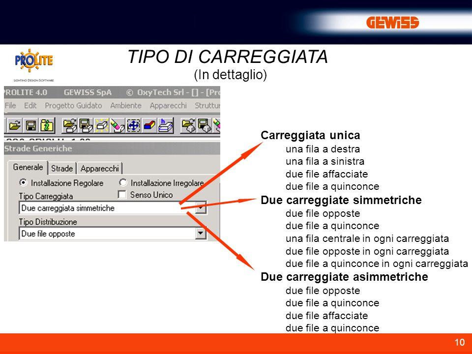 TIPO DI CARREGGIATA (In dettaglio) Carreggiata unica