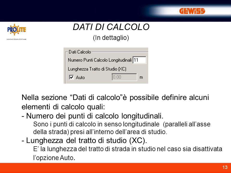 DATI DI CALCOLO (In dettaglio) Nella sezione Dati di calcolo è possibile definire alcuni elementi di calcolo quali:
