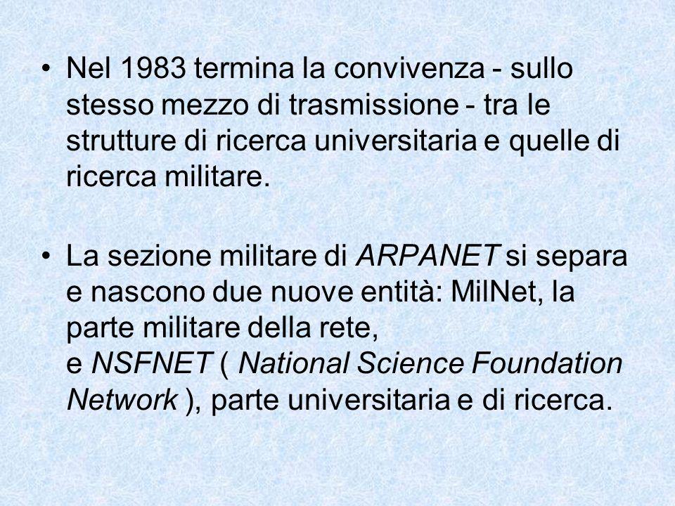 Nel 1983 termina la convivenza - sullo stesso mezzo di trasmissione - tra le strutture di ricerca universitaria e quelle di ricerca militare.