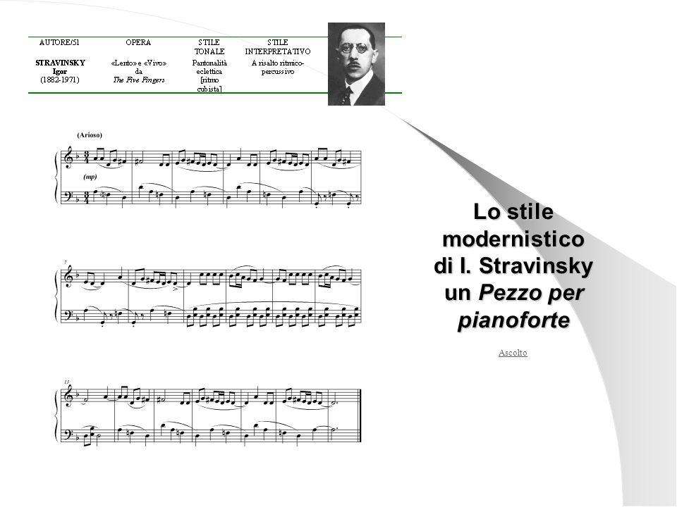di I. Stravinsky un Pezzo per pianoforte