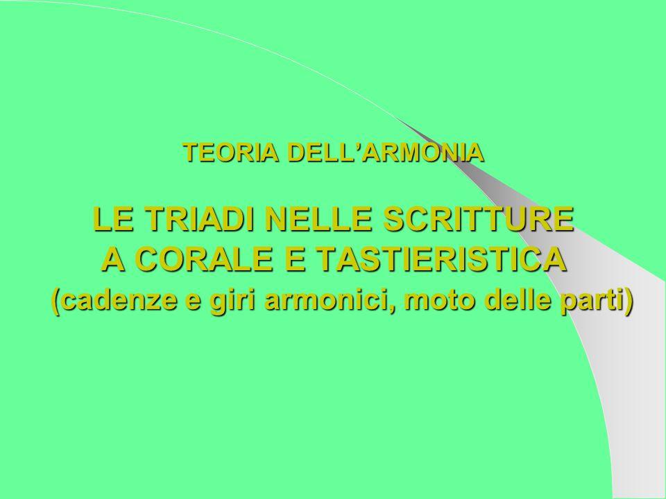 TEORIA DELL'ARMONIA LE TRIADI NELLE SCRITTURE A CORALE E TASTIERISTICA