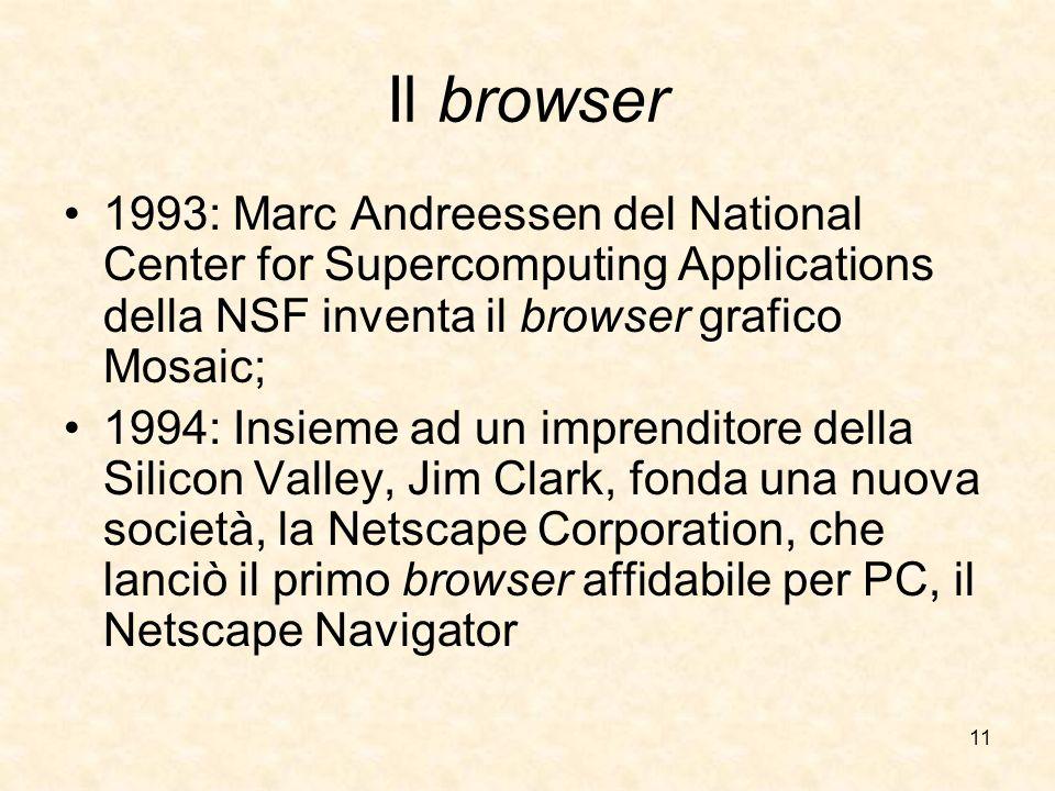 Il browser1993: Marc Andreessen del National Center for Supercomputing Applications della NSF inventa il browser grafico Mosaic;