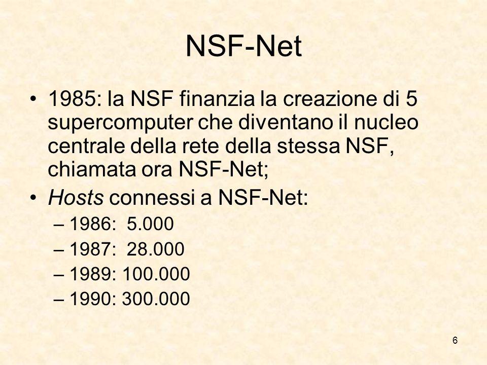 NSF-Net 1985: la NSF finanzia la creazione di 5 supercomputer che diventano il nucleo centrale della rete della stessa NSF, chiamata ora NSF-Net;