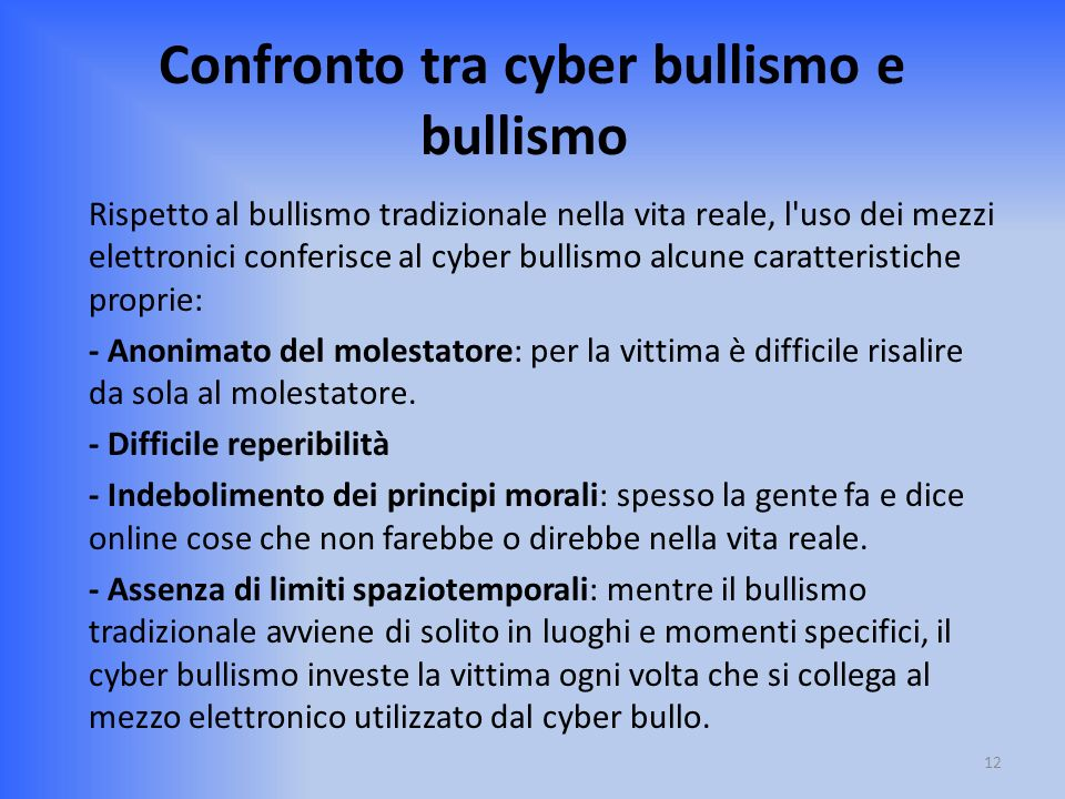 Confronto tra cyber bullismo e bullismo