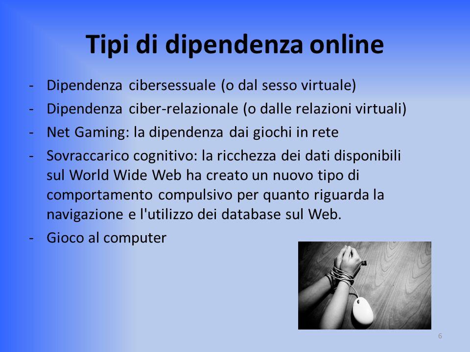 Tipi di dipendenza online
