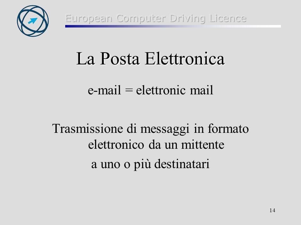 La Posta Elettronica e-mail = elettronic mail
