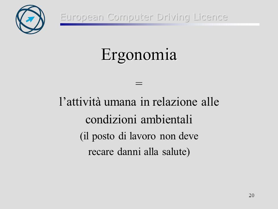 Ergonomia = l'attività umana in relazione alle condizioni ambientali