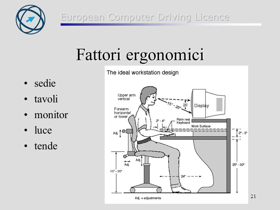 Fattori ergonomici sedie tavoli monitor luce tende