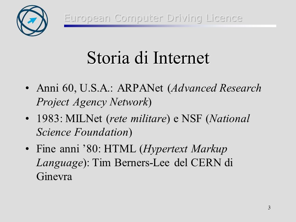 Storia di Internet Anni 60, U.S.A.: ARPANet (Advanced Research Project Agency Network)