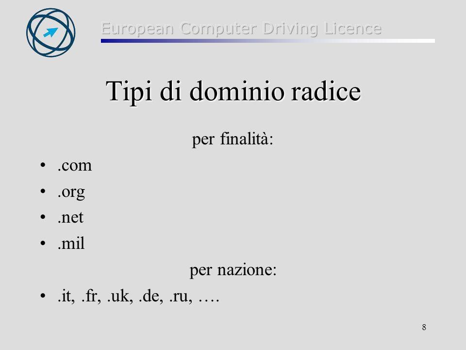 Tipi di dominio radice per finalità: .com .org .net .mil per nazione: