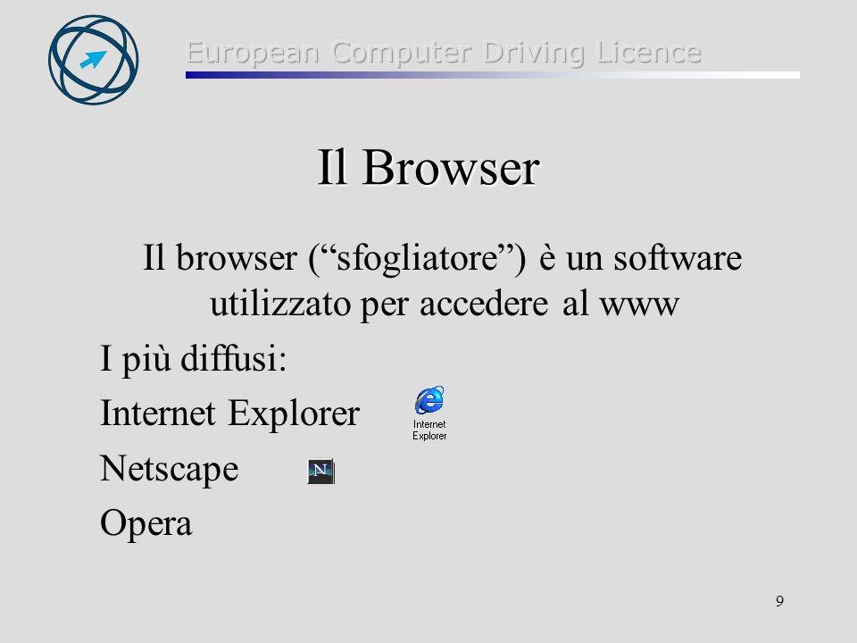 Il Browser Il browser ( sfogliatore ) è un software utilizzato per accedere al www. I più diffusi: