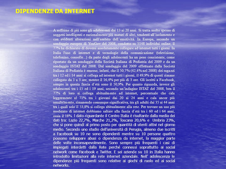 DIPENDENZE DA INTERNET