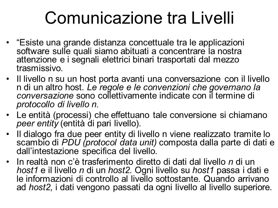 Comunicazione tra Livelli
