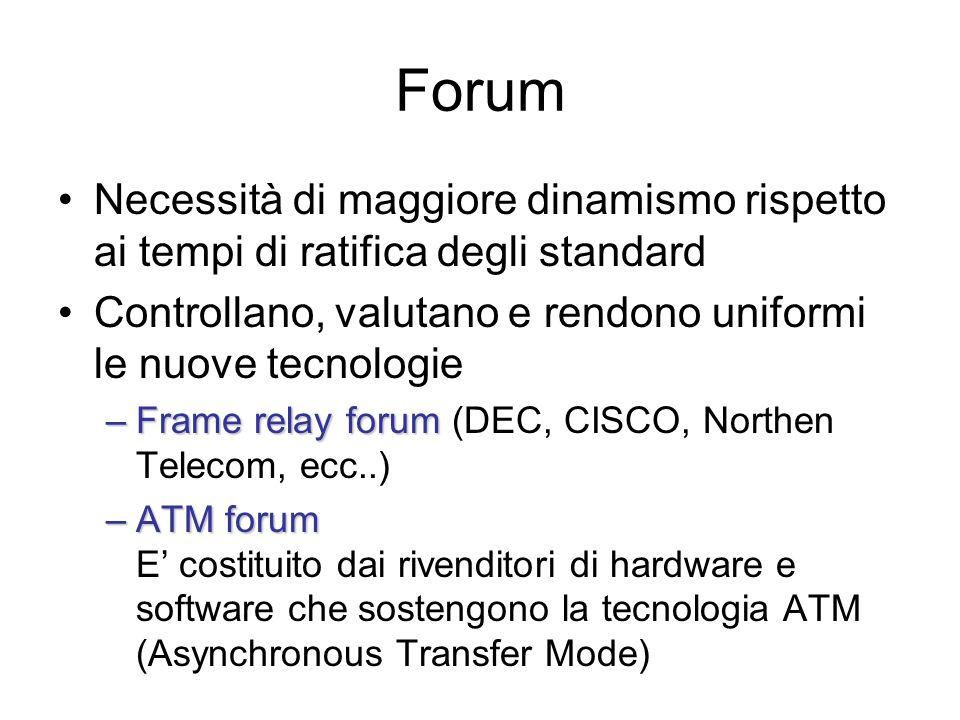 Forum Necessità di maggiore dinamismo rispetto ai tempi di ratifica degli standard. Controllano, valutano e rendono uniformi le nuove tecnologie.